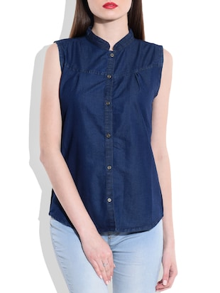 plain dark denim cut sleeves shirt