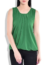 Green Plain Pleated Top - By
