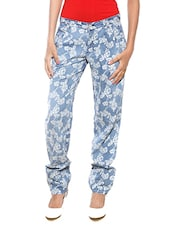 Blue Floral Printed Cotton Trousers - By