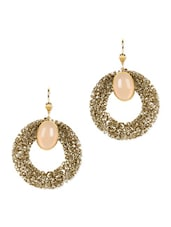 Entangled Rings Round EARRING With Beige Stone - Blissdrizzle