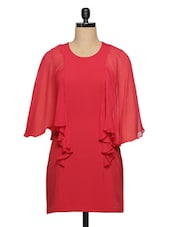 Red Dress With Batwing Sleeves - Ozel Studio