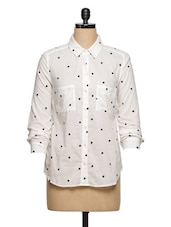 White Embroidered Front Pocket Shirt - Ozel Studio
