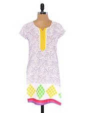 Short Sleeve Printed Cotton Kurti - Annabell
