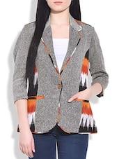 Grey Printed Jute Short Jacket - By