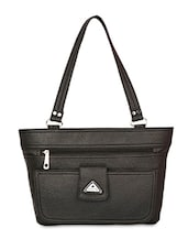 Solid Black Leatherette Tote Bag - By