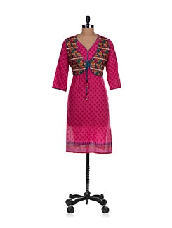 Summer Kurta With Attached Sleeveless Short Jacket In Pink - Varenya