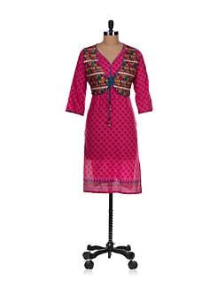 Summer Kurta With Attached Sleeveless Short Jacket In Pink - Varenya