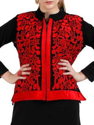 black , red Acrylic Wool woolen kurta