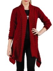 Red , Black Acrylic Wool Shrug - By
