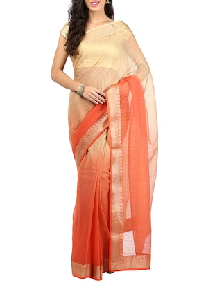 orange peach & beige kota Cotton Saree