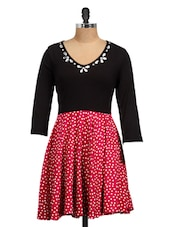 Raspberry Pink Embellished Polka Dress - Golden Couture