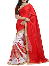 Red & White  Cotton Jut Dhupion Saree - By