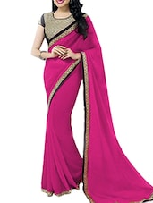 Pink  Chiffon Brocade Blouse Saree - By