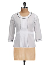 White Round Neck Pleated Top - Golden Couture