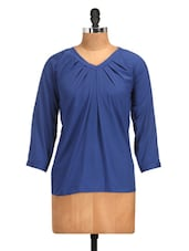 Cleopatra Pleated Royal Blue Polyester Top - Golden Couture