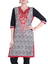 Black, White Cotton Printed Kurta - By
