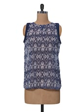 Blue & White Ikat Print Polyester Top - VAAK