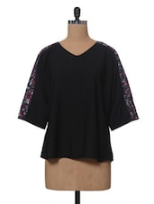 Black Polyester Top With Printed Back - VAAK