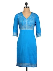 Blue Hand Block Print Cotton Kurta - By