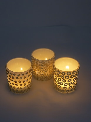 White, Gold Glass votive