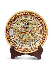 HANDICRAFTS PARADISE PEACOCK WITH FEATHERS SPREAD ON MARBLE PLATE HPMR15172 - By