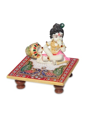 Marble Pooja Chowki With Resin Bal Krishna