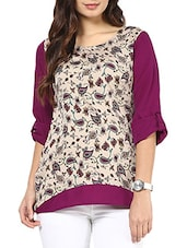 Beige and purple printed crepe full sleeves top -  online shopping for Tops