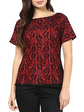 Red And Black Floral Short Sleeves Top - By