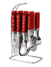 Zodiac Red Cutlery Set - 24 Pcs With Stand - Elegante'