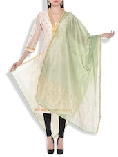 Pale Green Chanderi Silk Dupatta - By