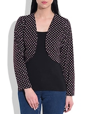 Brown Polka Dot Printed Cotton Shrug - By