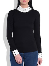 Polka dot printed high neck black viscose  top -  online shopping for Pullovers