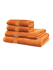 Orange Classic Super Soft Family Pack Set Of 4 Towels - Just Linen
