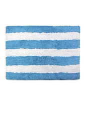 Multipurpose White And Blue Striped Cotton Floor Mat - Just Linen