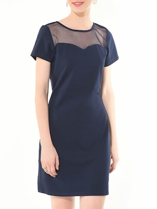 blue color cotton  spandex Dress