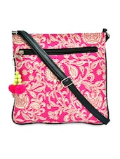 Tribe White And Pink  Canvas Crossbody Sling With Tassel - Pick Pocket