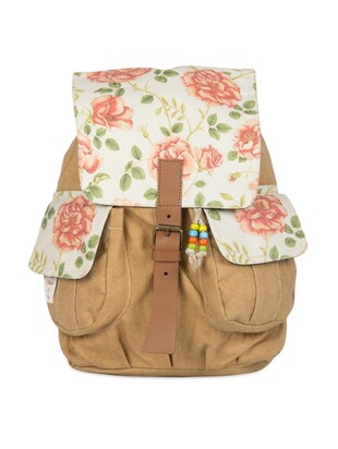 Backpack with floral printed flaps