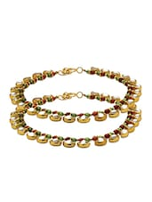 Exclusive Pair Of Traditional Anklets Adorned With Enamel Work, Shiny White Stones And Colorful Beads - Voylla