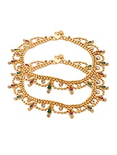 Pair Of Yellow Gold Plated Anklets With Drop Shaped Motifs - Voylla