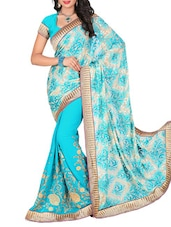 Sky Blue Georgette Embroidered Saree - By