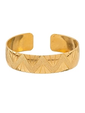 Gold Plated Cuff Bracelet With Beautiful Textured Design - Voylla