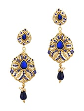 Gold Plated Dangler Earrings With Blue Color Stones And Tiny Pearl Beads - Voylla