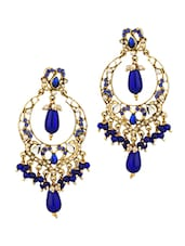 Gold Plated Dangler Earrings With Blue Color Stones, Beads And Tiny Pearl Beads - Voylla