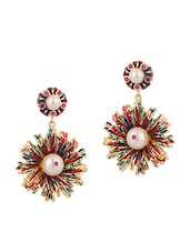 Pair Of Dangler Earrings With Floral Enamel Design And Pearls - Voylla