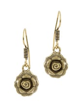 Exclusive Pair Of Oxidized Gold Plating Floral Design Earrings - Voylla