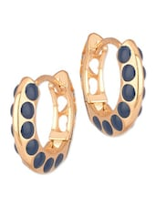 Pretty Pair Of Gold Tone Hoop Earrings With Blue Enamel Work - Voylla