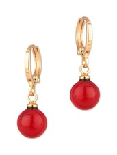 Gold Tone Pretty Pair Of Hoop Earrings With Red Drop - Voylla