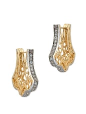 Gold Plated Pair Of Earrings Decorated With Shiny CZ Stones - Voylla