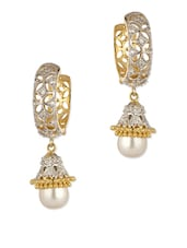 Gold Plated Pair Of Hoop Earrings Adorned With CZ Stones And Pearl Drop - Voylla