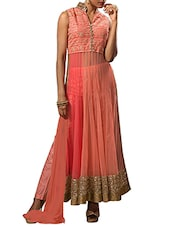 Peach Hand-worked Georgette Semi-stitched Suit Set - By